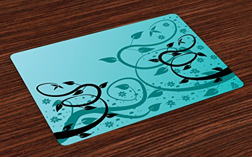 Lunarable Teal Place Mats Set of 4, Abstract Floral Modern Illustration with Winding Tendrils Leaves Vinesd Flowers, Washable Fabric Placemats for Dining Room Kitchen Table Decor, Black Teal