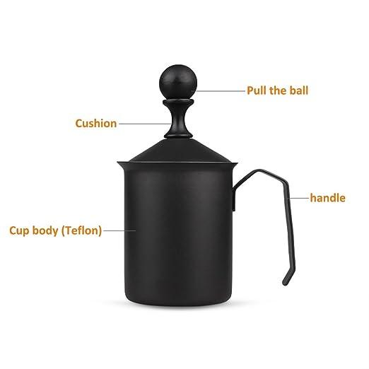 bulary 500 ml espumador de crema manual DIY Fancy crema de café cafetera de acero inoxidable doble malla hacer espuma taza: Amazon.es: Hogar