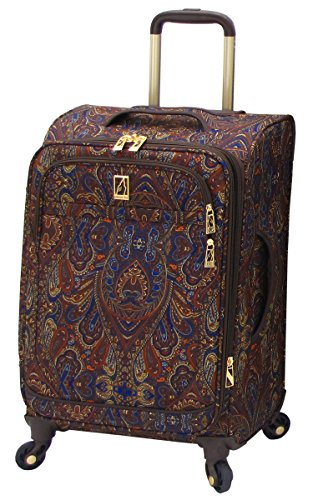 London Fog Soho 21 Inch Expandable Spinner Carry-On, Brown Paisley, One Size