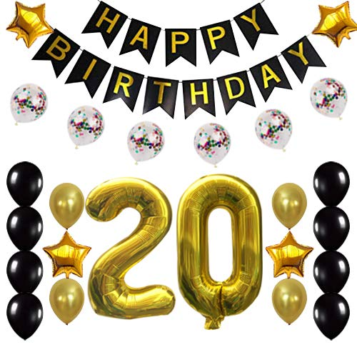 20th Birthday Decorations Party Supplies Happy 20th Birthday Confetti Balloons Banner and 20 Number Sets for 20 Years Old Party(Gold)