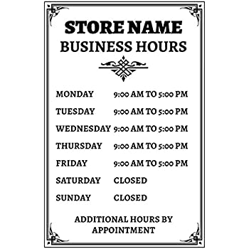 business hours sign store window vinyl decal sticker open closed new business and. Black Bedroom Furniture Sets. Home Design Ideas