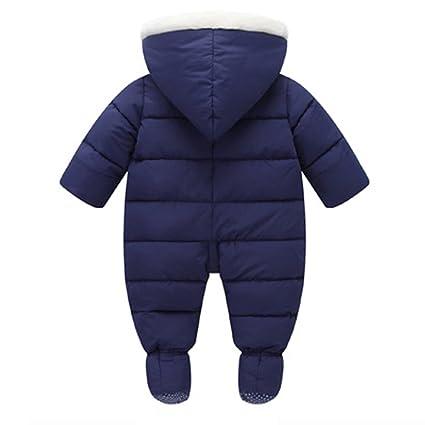 e5229d38f6cd Amazon.com  Tueenhuge Baby Winter Romper Hooded Puffer Zipper Snowsuit Down  Thick Jumpsuit (0-6 Months