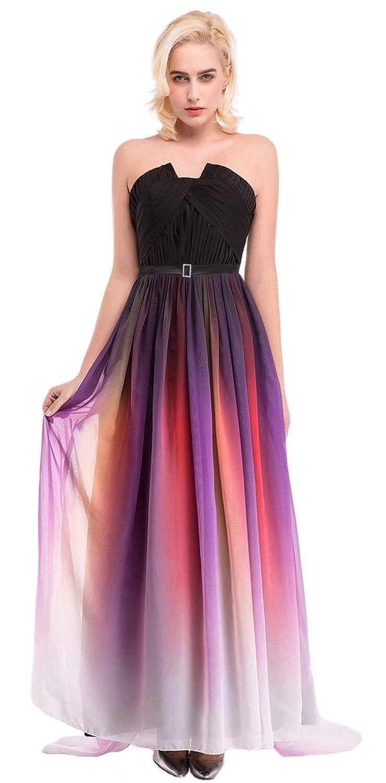 EOZY Women Chiffon Strapless Bridesmaid Pleated Slim Party Slim Full Dress
