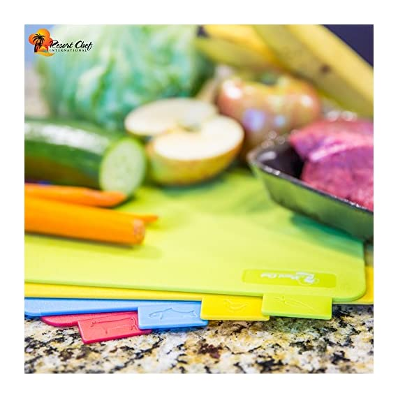 Kitchen Cutting Board Set of 4 Reversible Boards with Food Icons - BPA Free FDA Approved & Recyclable. Best for Food Safety Has Microban Protection. Includes FREE Ceramic Knife & Mat! 2 <p>🇺🇸🇺🇸When you buy from Resort Chef International you are supporting a family run company owned and operated in the USA.🇺🇸🇺🇸Making our customer Service top-notch, with easy communication and YOU, our customer #1 priority! IF YOU'RE PLANNING A 3 COURSE MEAL, OUR 4 PIECE MAT SET WITH FOOD ICONS WILL DO THE TRICK! KEEP MEATS, FISH AND VEGGIES SEPARATE. CLEAN UP IS EASY- ALL OUR PRODUCTS ARE DISHWASHER SAFE. Allowing you to have more time with your family and guests. Welcome to the Resort Chef Family. 🍋FOOD SAFETY COMES FIRST: Our cutting boards for kitchen is FDA Approved, made of food grade PP plastic,BPA Free, provide you and your family with safe surface for food preparation. Dishwasher Safe set makes clean up easy. 🥩SET OF 4 COLORS CUTTING BOARDS WITH FOOD GROUP ICON, it's cleaner and healthier, this is what professional kitchens do to help prevent cross-contamination. 🍤NO SPACE NO PROBLEM! ALL BOARDS STACK AND CAN FIT IN A DRAWER OR CUPBOARD 11.7 x 8.5 x 0.1 inches. DOUBLE YOUR INVESTMENT BY USING BOTH SIDES. No board will last you forever, but these high quality kitchen cutting boards are reversible and can be used on both sides, effectively lasting you twice as long. 🍗OUR CUTTING BOARDS WON'T SLIP LIKE OTHER BOARDS. WE INCLUDED A NON-SLIP MAT to be placed under the Cutting boards to prevent movement. 🌞USA FAMILY OWNED COMPANY! WE STAND BEHIND OUR PRODUCTS 100%</p>