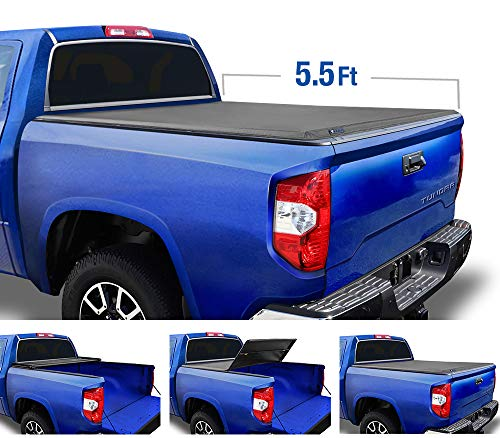 Tyger Auto (Soft Top T3 Tri-Fold Truck Tonneau Cover TG-BC3T1432 Works with 2014-2019 Toyota Tundra | Fleetside 5.5' Bed | for Models with or Without The Deckrail System