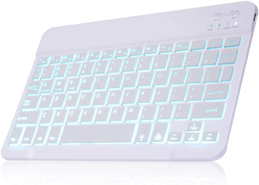 HKB1992 Universal Slim Portable Wireless Bluetooth Colors Backlit Keyboard with Builtin Rechargeable Battery Automatic Sleep Function with 7-Color Backlight White RGB