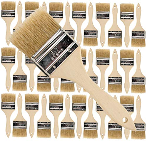 36 Pack of Single X Thick Paint and Chip Paint Brushes for Paint, Stains, Varnishes, Glues, Acrylics and Gesso. (2-1/2)