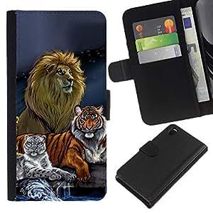 Sony Xperia Z3 D6603 / D6633 / D6643 / D6653 / D6616 , la tarjeta de Crédito Slots PU Funda de cuero Monedero caso cubierta de piel ( Lion Tiger Painting Art Drawing Blue)