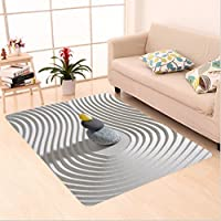 Nalahome Custom carpet ecor Three Hot Massage Stones in the Middle of the White Sand Shaped Waves Grey Balck and Yellow area rugs for Living Dining Room Bedroom Hallway Office Carpet (4 X 6)
