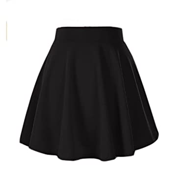 014000b9e2c4 Moxeay Women s Stretch High Waist A Line Pleated Flared Mini Skater Skirt  (S