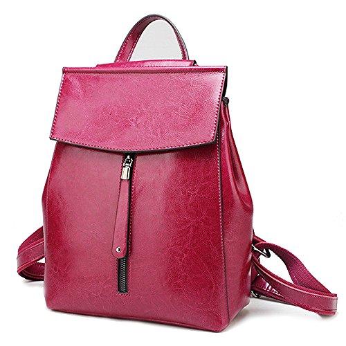 (JVP1091-B) Sac à dos en cuir de vachette pour femme Sac à dos noir marron gris rose rouge grande capacité sac à bandoulière arrière 3 voies Bague imperméable simple Filles voyageant Rose Rouge