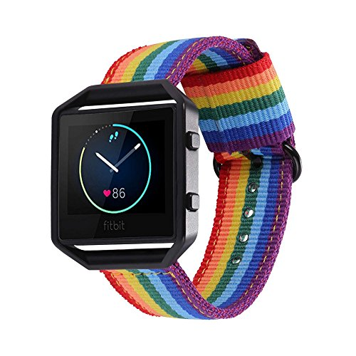 Price comparison product image for Fitbit Blaze Bands, Bandmax Denim Fabrics Rainbow Band Replacement with Black Frame Buckle for Fitbit Blaze Smart Fitness Watch