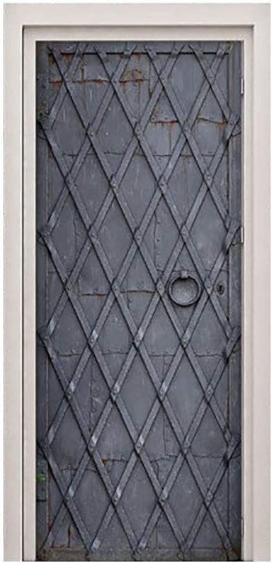 Etiqueta engomada de la puerta 3D, etiqueta de la puerta del abrigo de la puerta de hierro medieval para dormitorio sala de estar regalo arte PVC etiqueta de la puerta a prueba de agua 90x200 cm