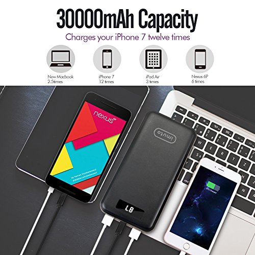 Qualcomm Certified rapid impose 30 USB C imuto 30000mAh super significant Capacity portable Charger power Bank 3 USB Ports External Battery Pack USB TYPE C Port and Qualcomm QC30 reviews expenditure for BlackBerry KEYone Samsung Galaxy S8 Note 8 iPhone X 10 8 7 6 Plus 6S PlusTablets Nintendo Switch Macbook and even more Black External Battery Packs