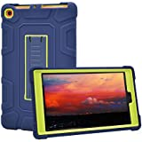 Dailylux Case for All-New Amazon Kindle Fire HD 8 Tablet,Shockproof Cover Three Layer Hybrid Rugged Protective Case with kickstand for Fire HD 8(7th Generation, 2017 release)-Blue+Yellow