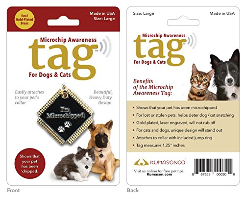 KumasonCo Microchip Awareness Pet ID Tags for Dogs and Cats (Large) Gold Plated ()