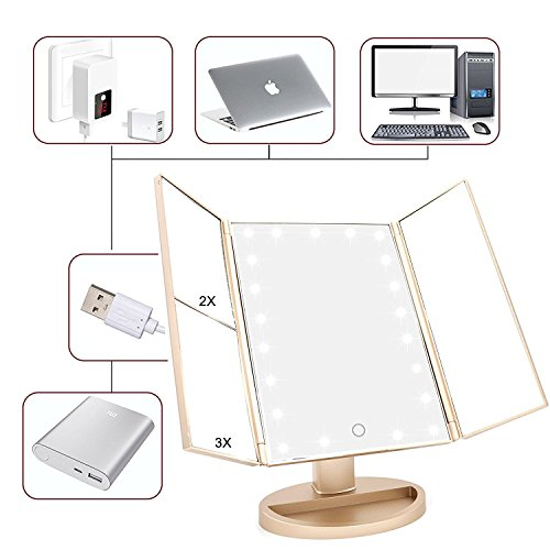 Weily Tri Fold Lighted Vanity Mirror With Adjustable 21