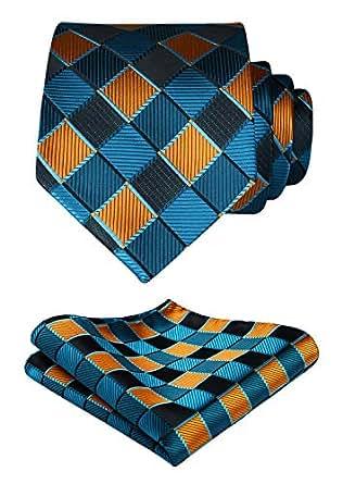 HISDERN Business Party Plaid Tie Handkerchief Woven Classic Men's Necktie & Pocket Square Set (Aqua & Orange)