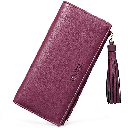 Wallets for Women Fashion Soft Leather Billfold Long Clutch Ladies Credit Card Holder Organizer Purse wine -
