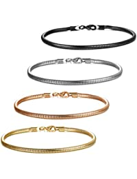 4 Pcs Stainless Steel Cable Snake Bracelets for women Girls Bangle for European Bead Charms 6.5-9 Inch