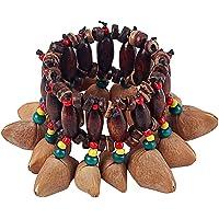 Alnicov Africano estilo tribal tuercas Shell pulsera Handbell para Djembe African Drum Conga Percusión Accesorios