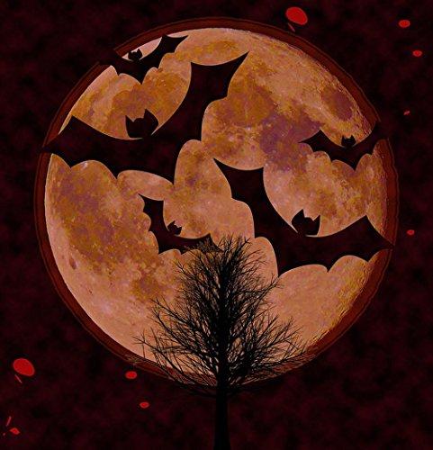 Quality Prints - Laminated 24x25 Vibrant Durable Photo Poster - Halloween Card Scrapbook Page Halloween Card Invitation Scary Bats Moon Full Moon Creepy Gothic Mystic Horror Fantasy Magic Dracula -