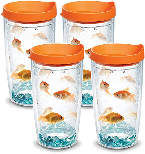 Tervis 1060370 Goldfish Insulated Tumbler with Wrap and Orange Lid 4 Pack - Boxed, 16oz, Clear ()