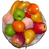 Artificial Red & Green Apples, Oranges, Bananas, Pears, and Peaches - Set of 14 Fruits