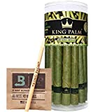 King Palm King Size Palm Leafs | 20 Pack | Natural Slow Burning Pre-Rolled Leaf With Packing Stick and Humidifying Pack