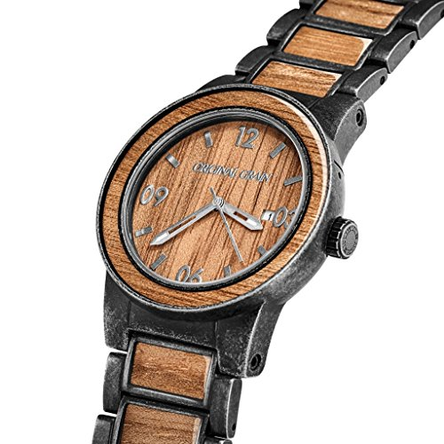 Original Grain Koa Stonewashed Wood Watch - Barrel Collection Analog Wrist Watch - Japanese Quartz Movement - Wood and Stainless Steel - Water Resistant - Hawaiian Koa Wood Watches for Men - 42MM