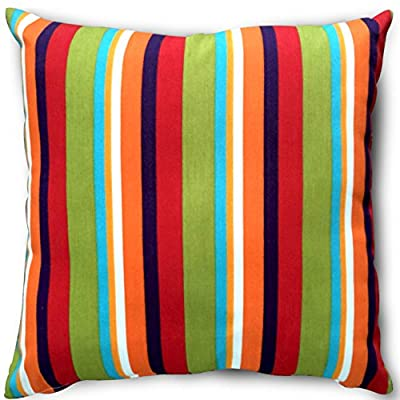 Utopia Bedding Decorative Square 18 x 18 Inch Throw Pillow (Indoor/Outdoor) - Blue, Green & White Stripe Cushion (Multi-Color Stripe) - Package includes 18 by 18 inches pillow with a multi color stripe pillow cover Moroccan-inspired pattern, with a sophisticated color palette, brings style to your outdoor setting Spun polyester exterior fabric and 100 percent polyester interior fiberfill dries easily; comes with a regular zipper, without piping - living-room-soft-furnishings, living-room, decorative-pillows - 519CvylcBzL. SS400  -