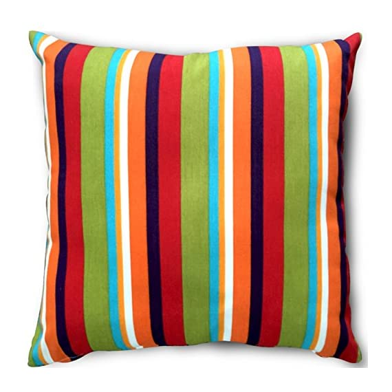 Utopia Bedding Decorative Square 18 x 18 Inch Throw Pillow (Indoor/Outdoor) - Blue, Green & White Stripe Cushion (Multi-Color Stripe) - Package includes 18 by 18 inches pillow with a multi color stripe pillow cover Moroccan-inspired pattern, with a sophisticated color palette, brings style to your outdoor setting Spun polyester exterior fabric and 100 percent polyester interior fiberfill dries easily; comes with a regular zipper, without piping - living-room-soft-furnishings, living-room, decorative-pillows - 519CvylcBzL. SS570  -