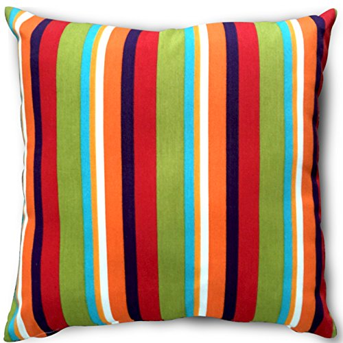 519CvylcBzL - Decorative Square 18 x 18 Inch Throw Pillows (Indoor/Outdoor) - Blue, Green & White Stripe Cushion (Multi-Color Stripe)