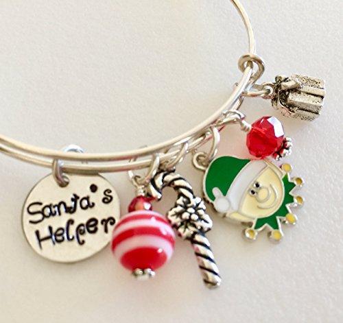 Helper, Christmas Charm Bracelet, Girl's Elf Bangle, Green Enamel Elf, Candy Cane, Christmas Present, Red And Green, Adjustable Silver Bangle. ()