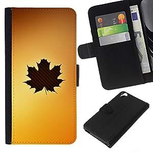 KingStore / Leather Etui en cuir / HTC Desire 820 / Arte de la hoja del árbol del oto?o de Brown amarillo arce