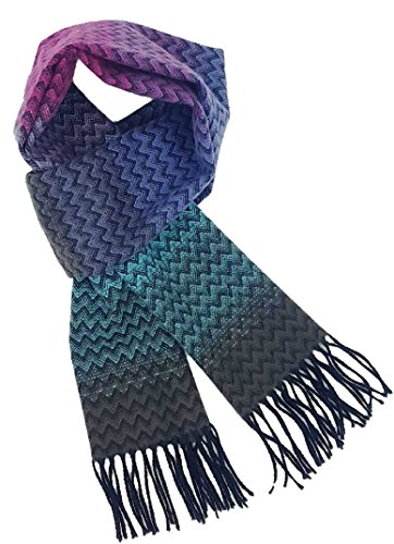 A.WAVE Softer than Cashmere Wool Touch Tassel Ends Plaid Check Solid Scarf (12 x 71.6 inches, Wave (Mens Wool Scarves)