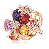 Daesar Rose Gold Plated Rings Womens Flower Cubic Zirconia Rings Promise Rings Size 8