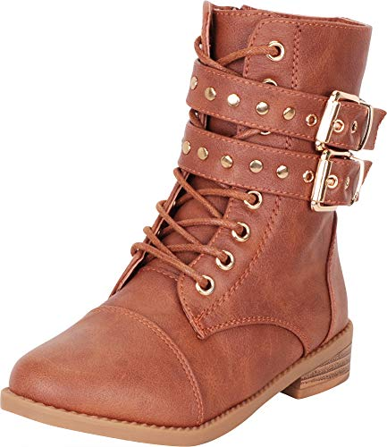 Tan Childrens Boot Distressed - Cambridge Select Girls' Studded Strappy Lace-Up Low Heel Combat Boot (Toddler/Little Kid/Big Kid),1 M US Little Kid,Tan PU