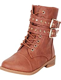 Girls Studded Strappy Lace-Up Low Heel Combat Boot (Toddler/Little Kid
