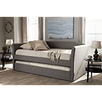 Baxton Studio Camino Modern and Contemporary Grey Fabric Upholstered Daybed with Guest Trundle Bed