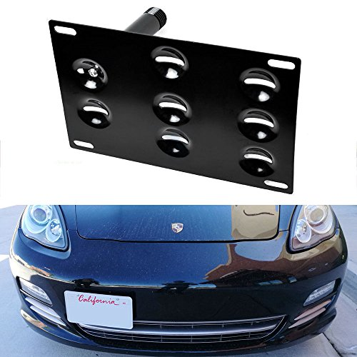 iJDMTOY Euro Style Front Bumper Tow Hole Adapter License Plate Mounting Bracket For 2010-2016 Porsche Panamera