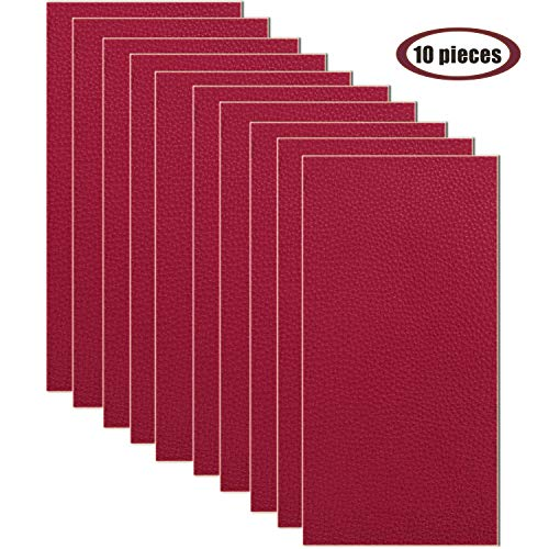 10 Pieces Leather Patches Leather Repair Kit for Couch Furniture Sofas Car Seats Handbags Jackets 3.9 x 7.9 inch/pcs ?Dark Red?
