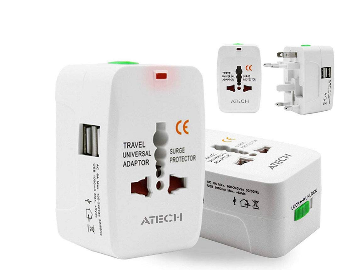 All in One Universal Travel Adapter Worldwide Power Plug Wall AC Adaptor Charger with Dual USB Charging Ports US EU UK AUS NZ AC100-240v Surge Protected Portable International Power Adapter