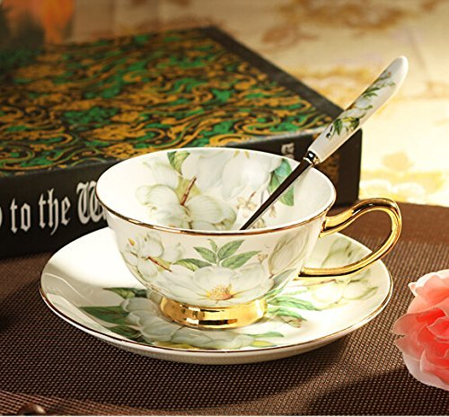 Zuwit Gift Boxed Fine Bone China Cup & Saucer Set with Gold Trim Fine Dining and Table Décor (Camellia Pattern)