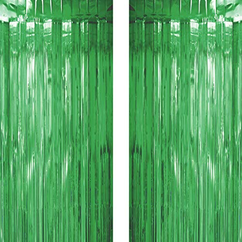 Green Tinsel Foil Fringe Curtains Decorations - Jungle Safari Baby Shower Birthday Wedding Bridal Shower Party Photo Backdrops Props Decorations, 2pc -
