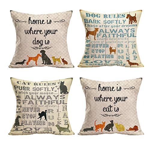 Smilyard Dog Cat Pillow Covers Animal Home is Where Your Dog&Cat is Word Throw Pillow Covers Cotton Linen Cushion Cover 18X18 Inches for Home Bedroom