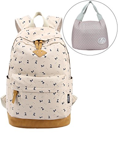 leaper-lightweight-canvas-laptop-backpack-cute-school-bags-and-lunch-bag-2pcs-deer-beige
