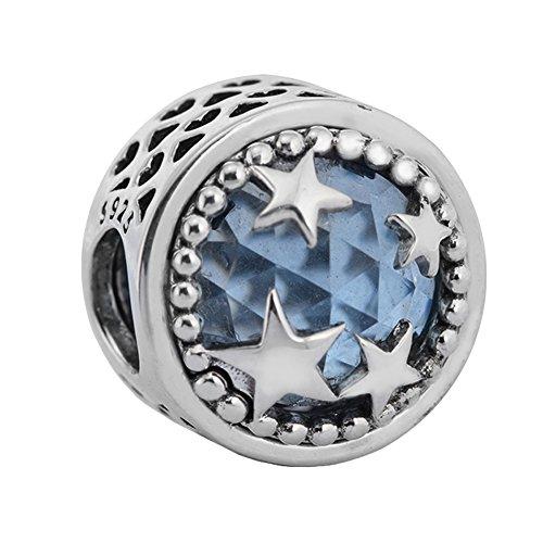 COCOLAND 925 Sterling Silver Radiant star Blue Crystal & Clear CZ Charms DIY Fits For Pandora - Bracelet Set Radiant