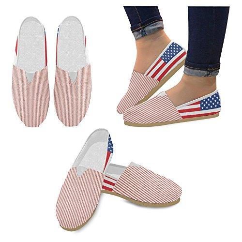 InterestPrint Frauen Loafers Klassische beiläufige Segeltuch-Beleg-auf Art- und Weise beschuht Turnschuhe-Ebenen Amerikanische Flagge