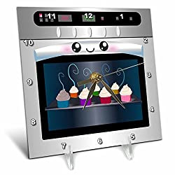 3dRose dc_58309_1 Cute Kawaii Happy Smiling Oven Filled with Baking Cupcakes-For Chefs Foodies and Cooking Fans-Desk Clock, 6 by 6-Inch